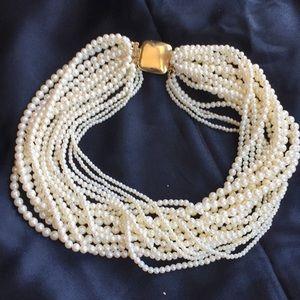 Stunning Multi strand pearl choker necklace